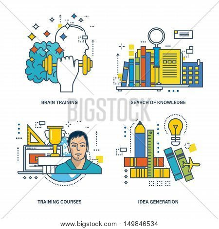 The basic concept of set - courses, the knowledge and the search for knowledge, training thinking, brain training, idea generation. Vector illustration can be used in banners, brochures, projects.
