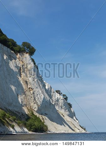 Moens Cliff with blue skies in the background located in Zealand Denmark