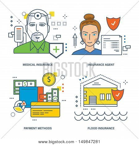 Concept of medical insurance, insurance agent, flood insurance, finance and payment options. Vector illustrations can be used in banners, brochures, commercial projects.
