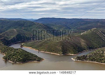 Arial view of Monfrague National Park located in Spain