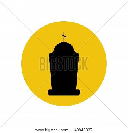 Headstone silhouette on the yellow background. Vector illustration