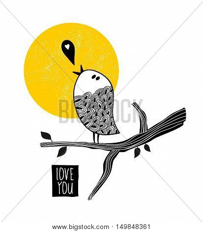 Song about love. Vector illustration of romantic bird on the tree.