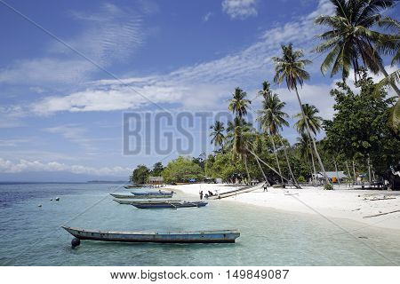 Sawandarek Village Beach View. Mansuar Island in Dampier Strait Raja Ampat Indonesia