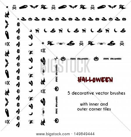 Halloween vector brushes with inner and outer corner tiles. Dividers borders ornaments