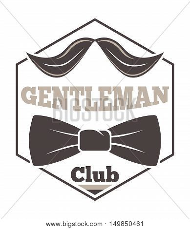 Vintage hipster label gentlemen hipster icon. Vector illustration gentlemen hipster logo badge silhouette. Gentlemens hipster icon badge fashion old vintage symbol logo item.