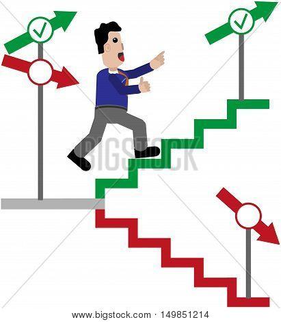 Males ran joyfully to the arrow, the green stairs upwards.