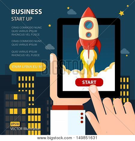 Start Up Business Strategy Growth Planning Concept. Vector illustration