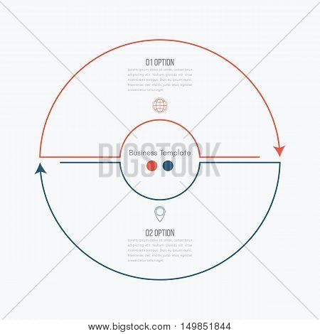 Thin line infographic element. Linear flat chart, diagram, scheme, graph with 2 steps