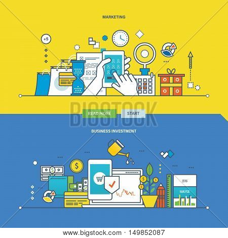 Concept of marketing, business investment, payment methods. Color Line icons collection.Vector design for website, banner, printed materials and mobile app.