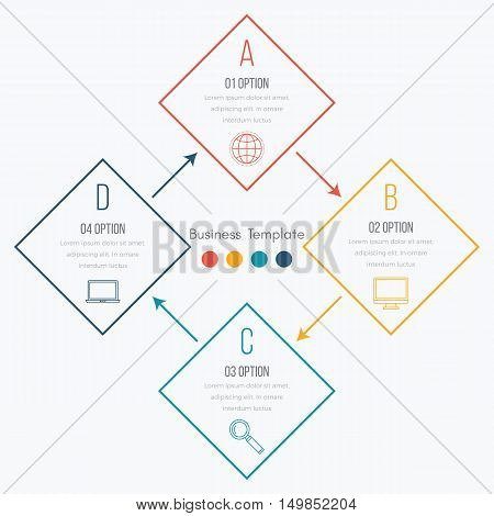 Thin line infographic element. Linear flat chart, diagram, scheme, graph with 4 steps