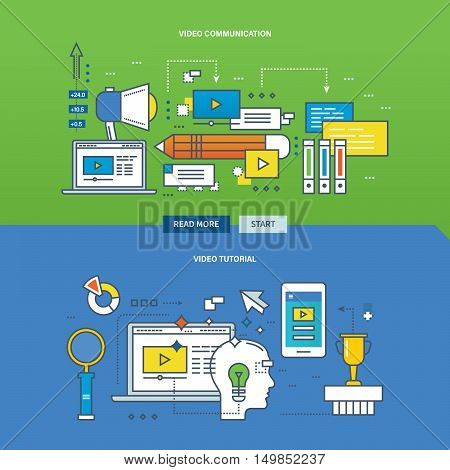 Concept of education, online learning with video communication and video tutorial. Color Line icons collection.Vector design for website, banner, printed materials and mobile app.