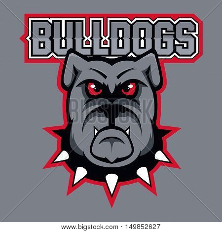 Modern professional logo for sport team. Bulldog mascot. Bulldogs, vector symbol on a dark background