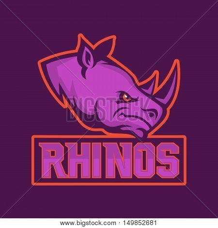 Modern professional logo for sport team. Rhino mascot. Rhinos, vector symbol on a dark background