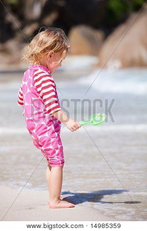 Toddler Girl At Beach