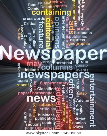 Background concept illustration of newspaper news paper glowing light