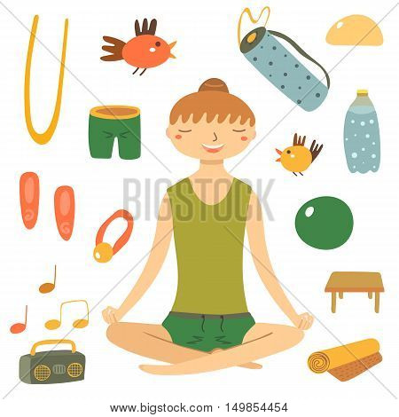 Hand drawn flat style woman doing yoga. Yoga objects set including shorts carpet carpet bag water bottle chair ball belt hair band bird tape recorder shoes. Yoga objects icons