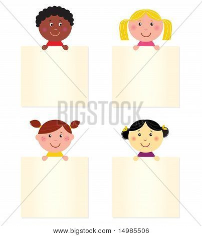 Cute Happy Multicultural Children With Blank Banner.
