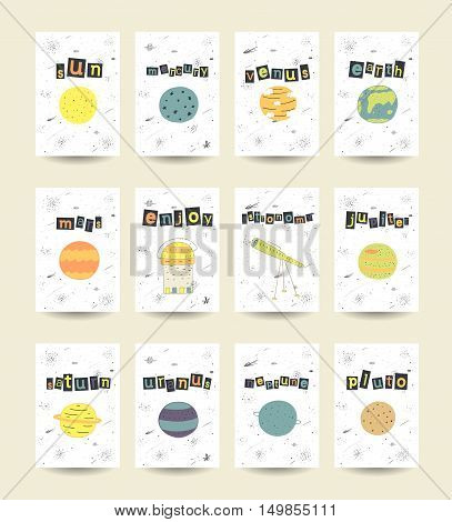 Cute hand drawn doodle cards brochures with comic objects planets including sun mercury venus earth mars jupiter saturn uranus neptune pluto stars galaxy comet milky way telescope