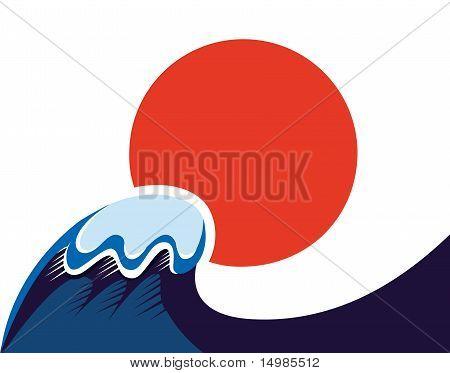 Japan Symbol Of Sun And Tsunami Wawe Isolated On White.