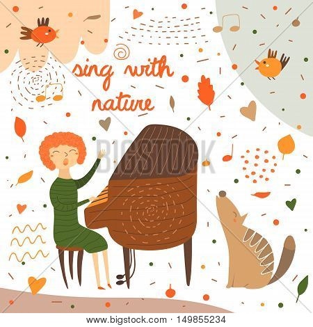 Cute hand drawn card postcard with music teacher playing piano. Red haired woman sitting on chair and singing. Background for musical school classes education. Animals set including bird wolf