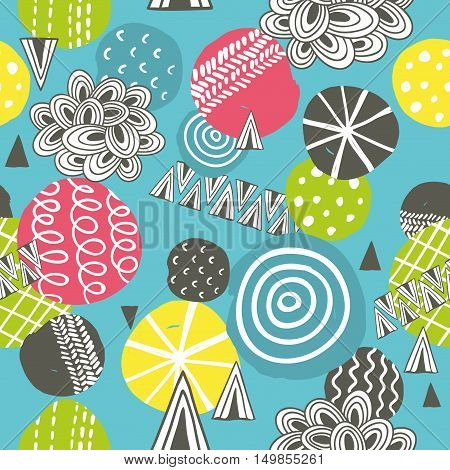 Seamless pattern with hand drawn balls. Creative vector background in modern style.