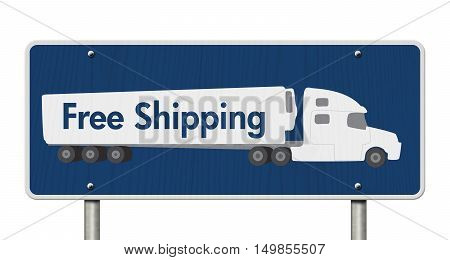 Free Shipping Road Sign A blue Road Sign with text Free Shipping and a truck isolated over white 3D Illustration