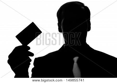 Portrait Young Man In Suit, Tie With Plastic Card - Silhouette