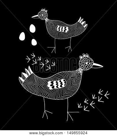 White line bird on the black background. Creative vector illustration.
