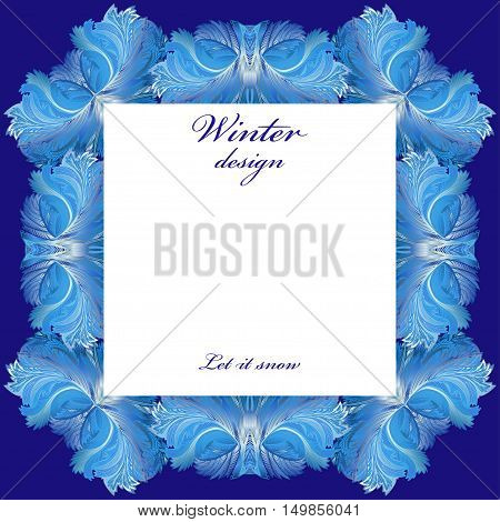 Square frame frozen glass decor. Winter holyday blue frost background. Blue, cyan and white design banner with snow hoar frost ice for winter holiday template. Vector illustration stock vector.