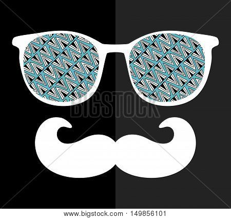 Abstract face of man in glasses. Vector image in retro style with geometric doodle pattern.