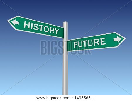 history future road sign 3d concept illustration on sky background
