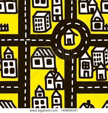 Small town roads seamless pattern. Simple endless background in scandinavian style.