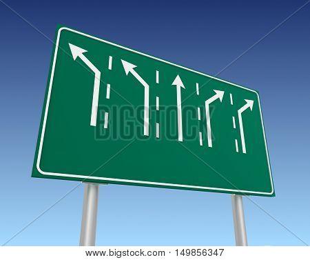 blank road sign 3d concept illustration on sky background