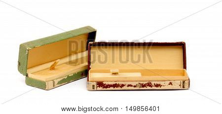 pictire of a old watch box open isolated on white background