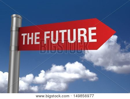 future road sign 3d concept illustration on sky background