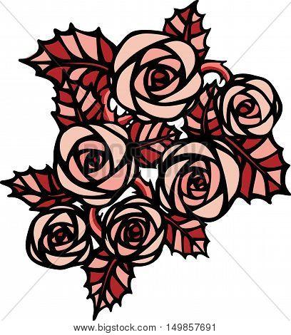 Beautiful monochromepink  rose flower in tatto style