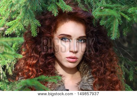 Beautiful young woman poses among fir branches in forest shallow dof