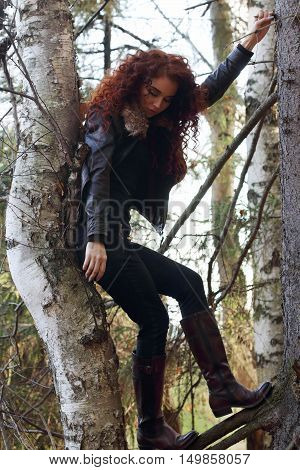 Dreaming woman in boots with curly hair poses on old fir-tree in forest