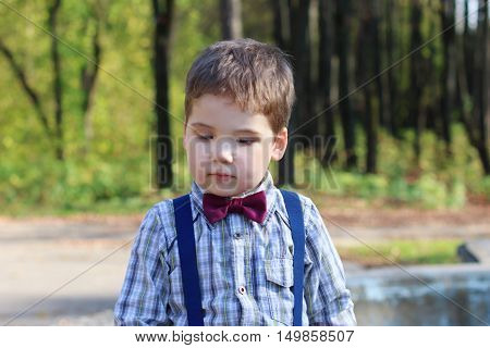 Handsome little boy with bow tie looks down in sunny green park