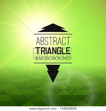 Abstract green sunset with triangle field, perspetive pattern in sunny fog, geometrical vibrant multicolored vector background illustration