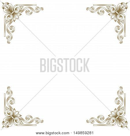 Golden frame, vintage frame, baroque frame, scroll frame ornament frame, engraving frame, border frame, floral retro frame, pattern antique frame, style acanthus frame, foliage swirl frame, decorative frame. Vector.
