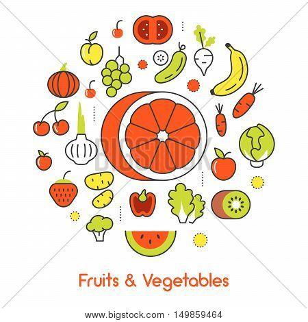 Fruits and Vegetables Thin Line Vector Icons with Banana nd Tomato