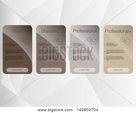 Four banner for the tariffs and price lists. Web elements. Vector design for web app.