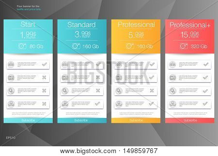 Four banner for the clouded sky service. Price list hosting plans and web boxes banners design. Four banner for the tariffs and price lists. Web elements. Plan hosting. Vector design for web app.