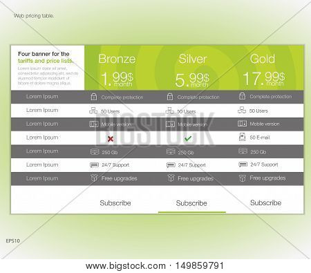 Web pricing table. Vector design for web app. Set offer tariffs. Price list.