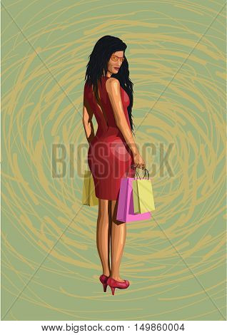 Beautiful girl lady sexy hot woman in red dress from shopping with packages pack sun glasses sexy ass backside standing turned back. Vector closeup vertical side view illustration on green background