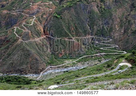 Nice curvy winding road leading down to Tablachaca canyon and the same called river in northern Peru. Located north of Pato Canyon and the Cordillera Blanca.