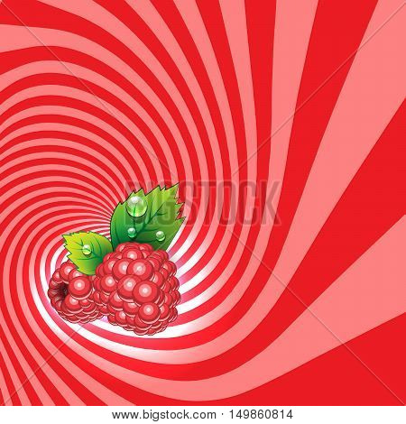 Striped spiral raspberry patisserie background. Raspberry fruit color. Raspberry spiral tunnel. Spiral background for cover design of raspberry fruit products. Vector Illustration.