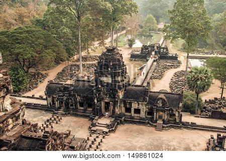 Aerial view at Angkor Wat temple complex in Cambodia