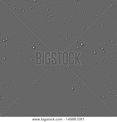 Water transparent drops seamless pattern. Rain drops. Condensed water on grey background. Water drops scattered across the surface. Vector illustration